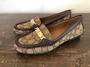NEW Coach Olive Signature Jacquard Flats Loafers Shoes Khaki/Chestnut Sz 6 B