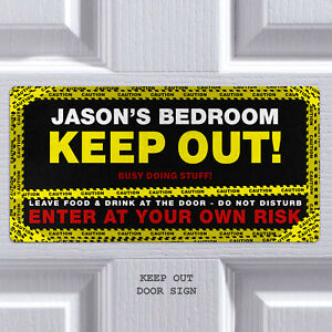 Bedroom Door Sign Keep Out Personalised Plaque Custom Sign Boys Girls Room