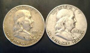 Two Walking Liberty Silver Half Dollars 1951 and 1952