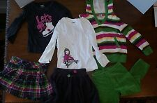 Gymboree Girl's Toddler Size 4 Lot 6 Merry & Bright Ice Skating Skort Shirt Hair