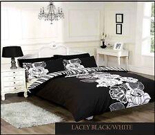 LAURA SECRET DUVET QUILT COVER BEDDING SET PILLOWCASES LACEY BLACK/WHITE  DOUBLE