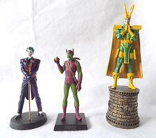 3  EAGLEMOSS MARVEL, DC COMIC FIGURES. LOKI, THE JOKER & GREEN GOBLIN. BOXED.