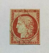 Timbre France classique n°6-b, 1 Franc Ceres Carmin-brun 1849