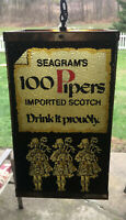 Seagrams 100 Pipers Imported Scotch Lighted Bar Sign Man Cave Whiskey Sign