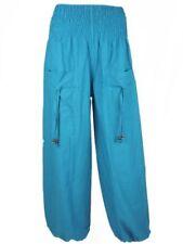Pantaloni da donna harem blu in cotone