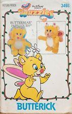 Butterick Sewing Pattern Walt Disney Wuzzles Butterbear Toy 3498 1980s Vintage