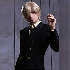 Sanji ONE PIECE Mens Cool Halloween Party Costume Cosplay Party Wig+free wig cap