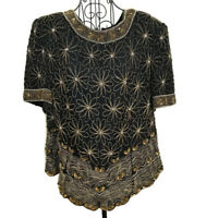 VTG Laurence Kazar 100% Silk Sequined Beaded Top Blouse Black Gold Size 1X