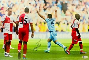 Manchester City Sergio Aguero Signed 12x16.5 Photo BAS Beckett COA