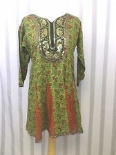 Cotton India Tribal Tunic Top Gold Sequin  braided trim small BoHo burning man