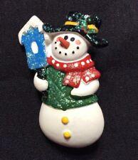 Plastic Snow Man Christmas Winter Pin Brooch Red Green Blue White Yellow glitter