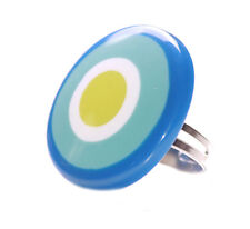 Colour Splash-dark/Light Blue,White & Green Circle/Stretchable Hand Ring(Zx261)