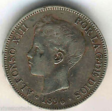Alfonso XIII 5 Pesetas 1896 PGV argent @ Belle @