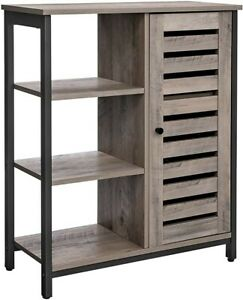 Rustic Grey Storage Cabinet Vintage Industrial Cupboard Small Console Side Table