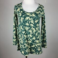 Lularoe Womens Knit Top Lynnae XXS Scoop Neck Green Cream Bird Long Slv