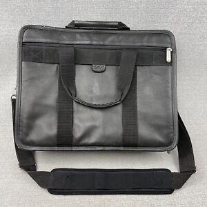 Compaq Computer Laptop Bag Faux Black Leather Organizer Briefcase Messenger Bag