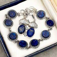 Stunning Vintage 1950s Lapis Lazuli Blue Glass Cabochon Bracelet & Earrings