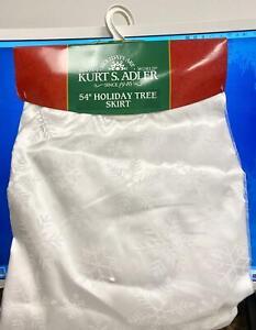 White Sheer Organza Overlay w/ Glitter Snowflake Tree Skirt~Christmas Tree Decor