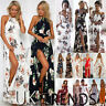 UK Womens Holiday Sleeveless Ladies Maxi Long Summer Print Beach Dress Size 6-14