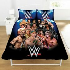 WWE Legends Double Duvet Quilt Cover Bed Set Warrior Rock Cena Boys Fan Gift