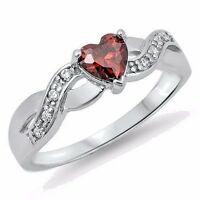 USA Seller Heart Ring Sterling Silver 925 Best Price Jewelry Selectable Garnet