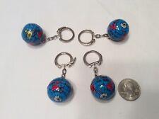 Vintage 1980's Metal Globe Key Chains, 4 piece lot