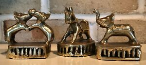 Antique Early 19th Century Indian HEAVY BRASS Circus Animal Vajri Sculpture