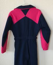 Vintage TWN Womens Ski Suit Navy Blue Hot Pink One Piece Belted Size 6