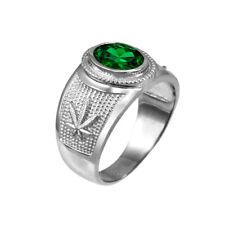 Sterling Silver Marijuana Weed Leaf Band May Birthstone Green CZ Ring