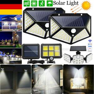 Solar LED Solarleuchte Bewegungsmelder Außen Fluter Sensor Strahler Beleuchtung