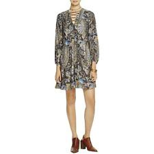 Free People 6504 Womens Rain Or Shine Black Printed Casual Dress Tunic S BHFO