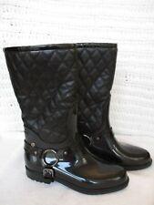 New Stuart Weitzman Women's Faux Fur Lined Black Rain Boots Size 6.5