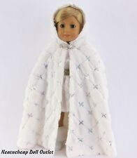 """White Sparkle Sequins Winter Cape FITS 18"""" American Girl Doll"""