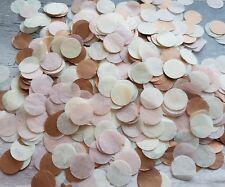 COPPER (ROSE GOLD),IVORY,POWDER BLUSH PINK CIRCLES CONFETTI WEDDING/2 HANDFULS
