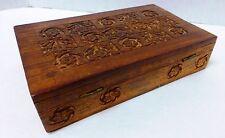 Vintage Hard Carved Wood Jewelry/Trinket Lined Box