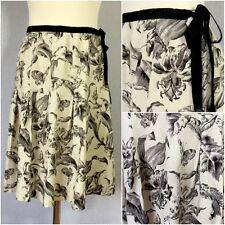 August Silk Ladies Cream Black Linen 40s Retro Floral Toile Skirt 4 Uk 8/10