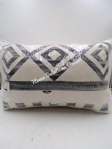"Pottery Barn Ryn Lumbar  Textured Pillow Geo Black Multi 16x24"" S/ 2 #9682"
