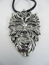 Green Man Pewter Pendant on Leather Necklace.