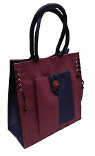 Eco-friendly Jute shopper bag - Aubergine & Navy