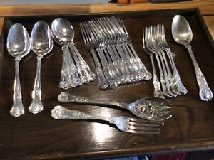 Job Lot Kings Pattern Sheffield Silver Plated Forks & Spoons 29 Pieces
