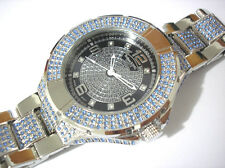 Silver Tone Stainless Steel Techno King Men's Watch Silver w Crystals Item 3610