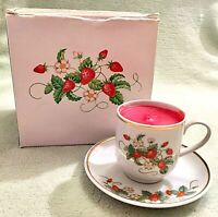 Avon Strawberry Porcelain Demi Cup and Saucer Set 22K Gold Trim 1979 VTG (NIB)