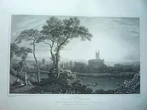 "ANTIQUE PRINT DATED 1828. "" THE CITY OF CANTERBURY, EAST VIEW  ."" RARE."