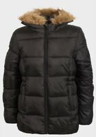 Girls Black Parka School Jacket Hooded Coat Winter Xmas Age 7 8 9 10 11 12 13