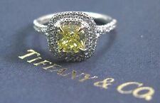 Tiffany & Co Plat Cushion Fancy Intense Yellow Diamond Soleste Ring 1.27Ct VS2