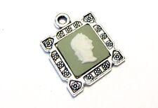 """Wedgwood Jewelry- Wedgwood Cameo in Pendant """"Male Profile"""" Green Jasperware"""