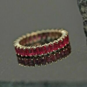 3 Ct Baguette Cut Red Ruby Full Eternity Wedding Band Ring 14k Yellow Gold Over