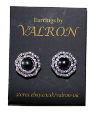 Black Pearl Stud Earring With Cubic Zirconia and Sterling Silver Setting