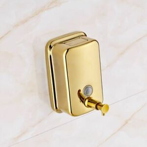 Golden Soap Dispenser Box Mounted Stainless Steel Gold Bathroom Liquid Soap Pump