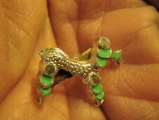 """Vintage 7/8"""" Poodle Pin Silver Tone with Aqua tiny Cute Dog on Jewelry A1"""
